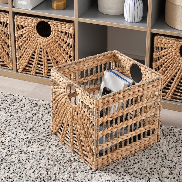 "LUSTIGKURRE Basket, natural water hyacinth/seagrass, 12 ½x13x12 ½ """