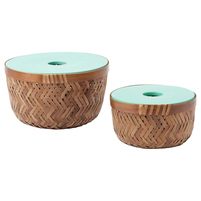 LUSTIGKURRE Basket with lid, set of 2, bamboo/turquoise