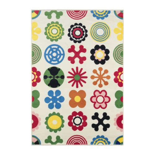 LUSY BLOM Rug, low pile IKEA Heat-set polypropylene; makes the rug soft to walk on.