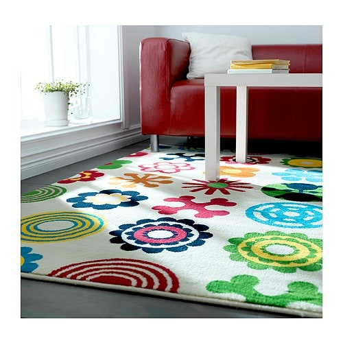 "LUSY BLOM Rug, low pile, white, multicolor Length: 6 ' 5 "" Width: 4 ' 4 "" Max. pile length: 0 ""  Length: 195 cm Width: 133 cm Max. pile length: 11 mm"