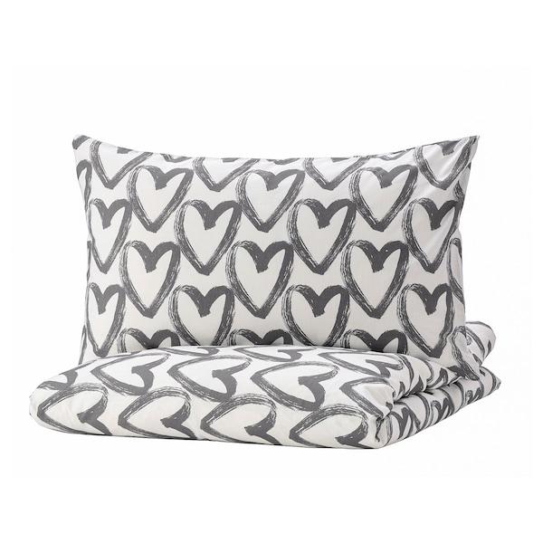 LYKTFIBBLA Duvet cover and pillowcase(s), white/gray, Full/Queen (Double/Queen)