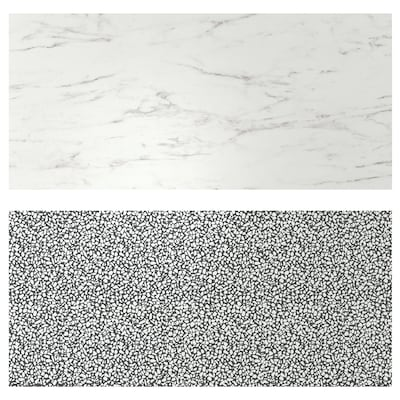 LYSEKIL Wall panel, double sided white marble effect/black/white mosaic patterned, 48x19 ""