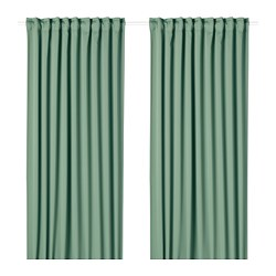 MAJGULL blackout curtains, 1 pair, green