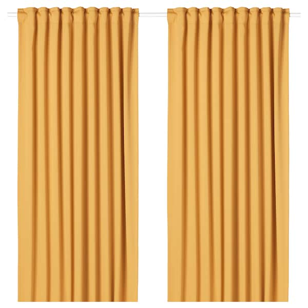 "MAJGULL room darkening curtains, 1 pair yellow 98 "" 57 "" 4 lb 7 oz 39.07 sq feet 2 pack"