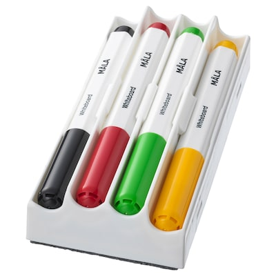 MÅLA whiteboard pen mixed colors 4 pack