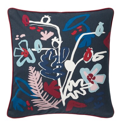 MÅLARBORSTE Cushion cover, dark blue/multicolor, 20x20 ""