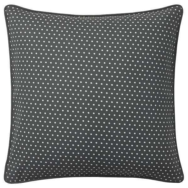 MALINMARIA Cushion cover, dark gray/white, 20x20 ""