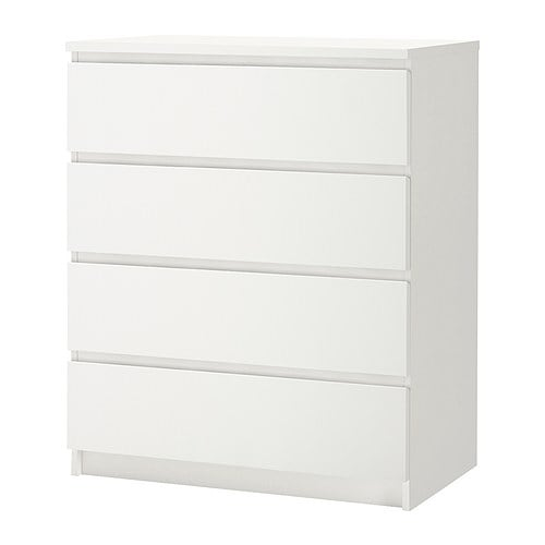 MALM 4-drawer chest IKEA Extra roomy drawers.  Smooth running drawers with pull-out stop.