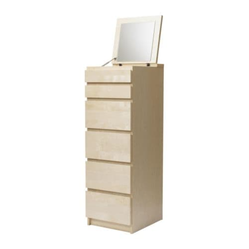 malm 6 drawer chest birch veneer mirror glass ikea