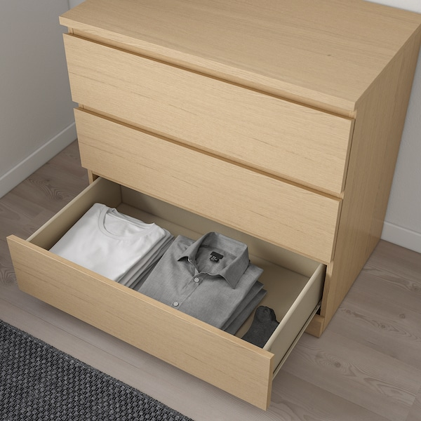 MALM 3-drawer chest, white stained oak veneer, 31 1/2x30 3/4 ""
