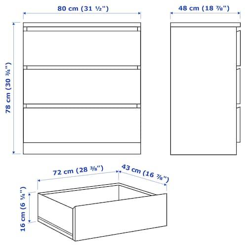 Malm 3 Drawer Chest White 311 2x303 4