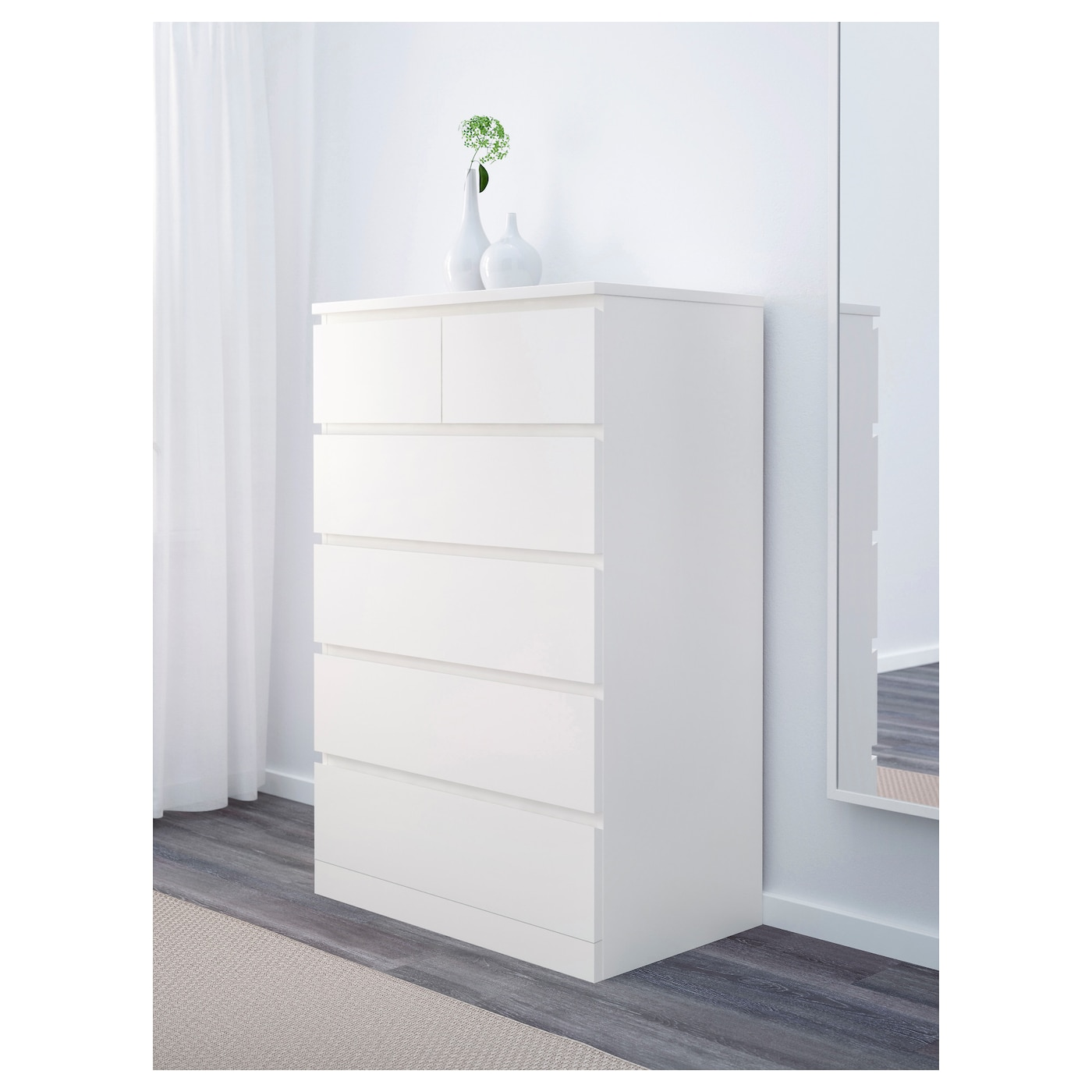 Malm 6 Drawer Chest White 31 1 2x48 3