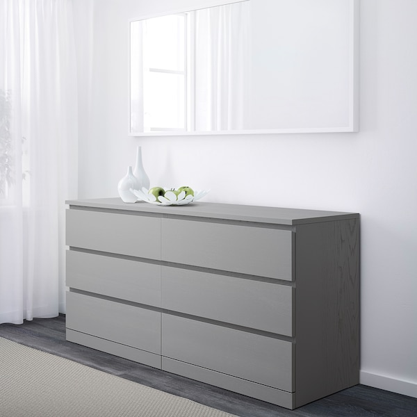 """MALM 6-drawer dresser, gray stained, 63x30 3/4 """""""