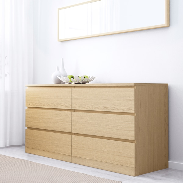 Malm 6 Drawer Dresser White Stained