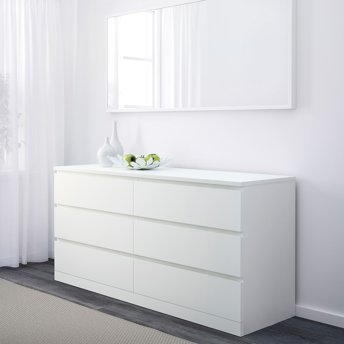 Malm 6 Drawer Dresser White 63x30 3 4
