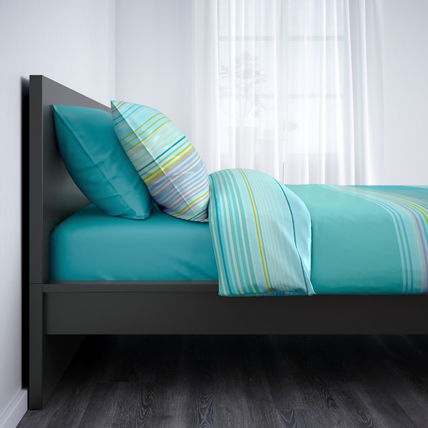 MALM Bed frame, high, black-brown, Twin