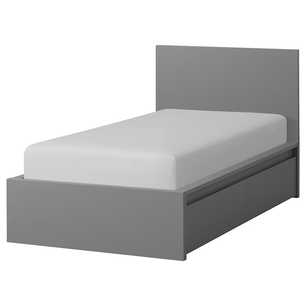Wonderlijk MALM High bed frame/2 storage boxes, gray stained, Twin - IKEA VO-33