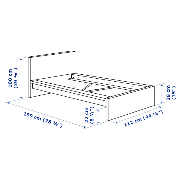 MALM Bed frame, high, white/Luröy, Twin