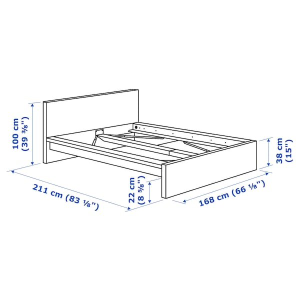 MALM Bed frame, high, white stained oak veneer/Luröy, Queen