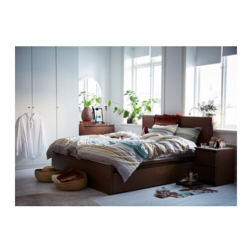 MALM Bed frame, high - Queen, -, black-brown - IKEA