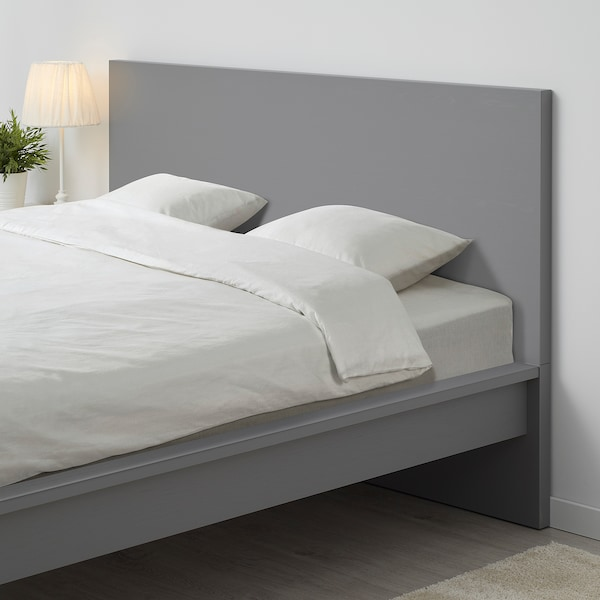 "MALM bed frame, high gray stained/Leirsund 83 1/8 "" 66 1/8 "" 15 "" 39 3/8 "" 79 1/2 "" 59 7/8 """