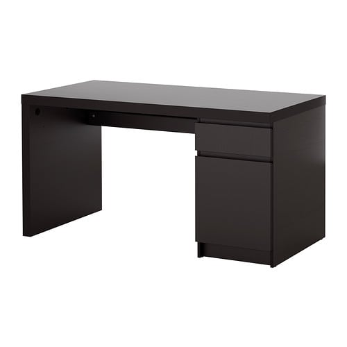 malm desk black brown ikea. Black Bedroom Furniture Sets. Home Design Ideas