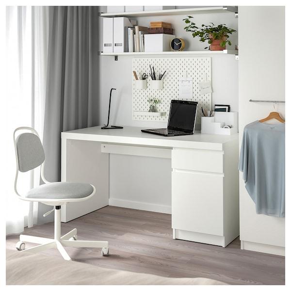 """MALM Desk, white, 55 1/8x25 5/8 """""""