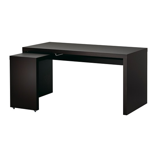 malm desk with pull out panel black brown ikea. Black Bedroom Furniture Sets. Home Design Ideas