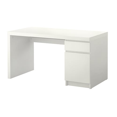 MALM Desk IKEA You can collect cables and extension cords on the shelf