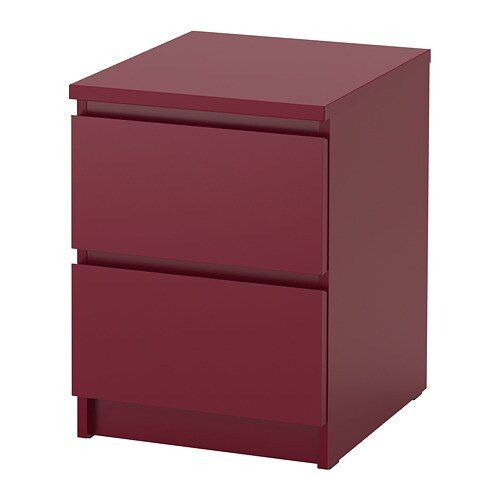MALM   2 Drawer Chest, Dark Red