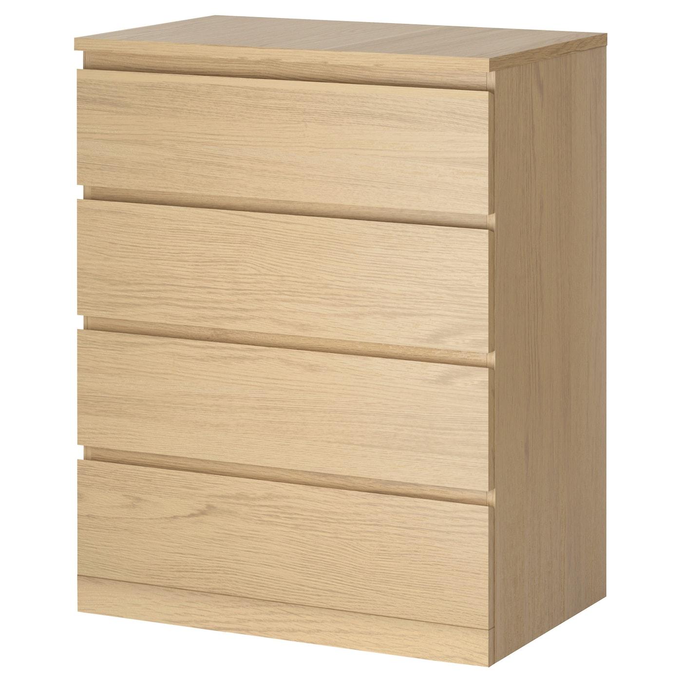MALM - 4-drawer chest, white stained oak veneer