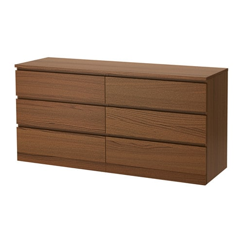 malm 6 drawer dresser brown stained ash veneer ikea. Black Bedroom Furniture Sets. Home Design Ideas