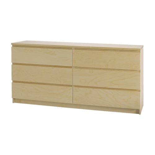 malm 6 drawer dresser birch veneer ikea. Black Bedroom Furniture Sets. Home Design Ideas
