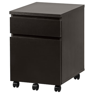 """MALM Drawer unit on casters, black-brown, 16 1/2x23 1/4 """""""