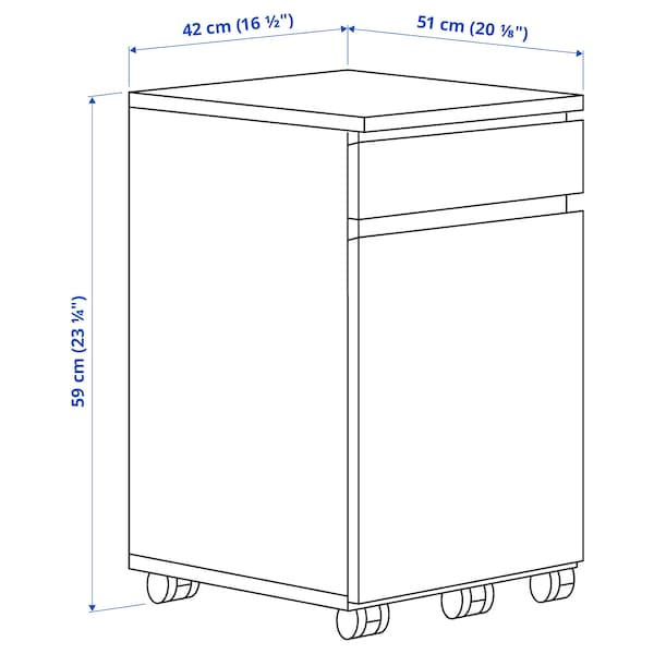 """MALM Drawer unit on casters, white, 16 1/2x23 1/4 """""""