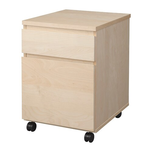 malm drawer unit on casters birch ikea