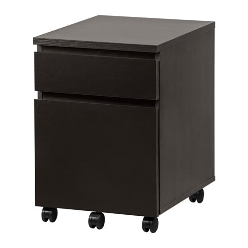 Malm drawer unit on casters black brown ikea for Ladenblok ikea