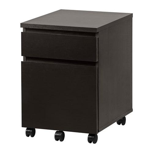 MALM Drawer unit on casters, black-brown black-brown 16 1/2x23 1/4