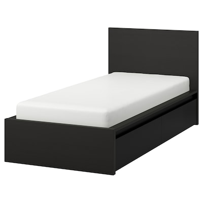MALM High bed frame/2 storage boxes, black-brown/Luröy, Twin