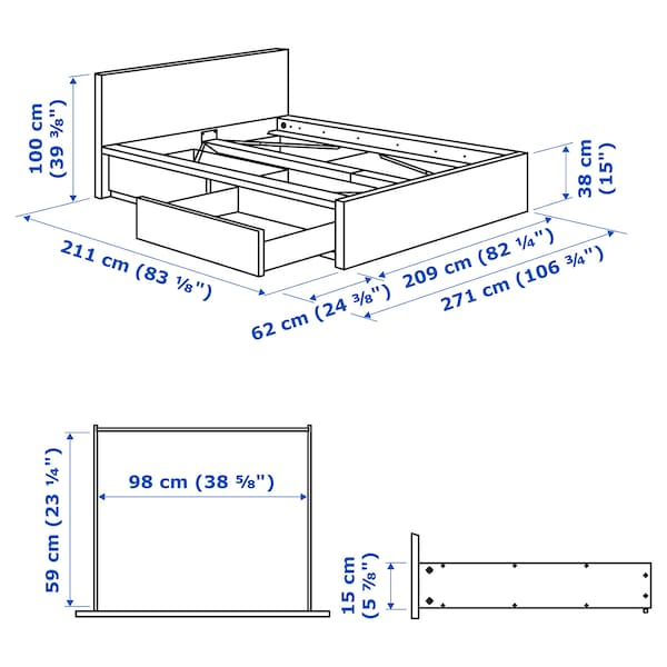 MALM High bed frame/2 storage boxes, white stained oak veneer/Luröy, King