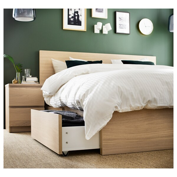 MALM High bed frame/4 storage boxes, white stained oak veneer/Luröy, Full