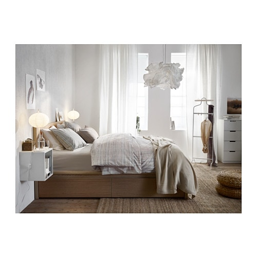 Malm High Bed Frame 2 Storage Boxes Queen Lur 246 Y White
