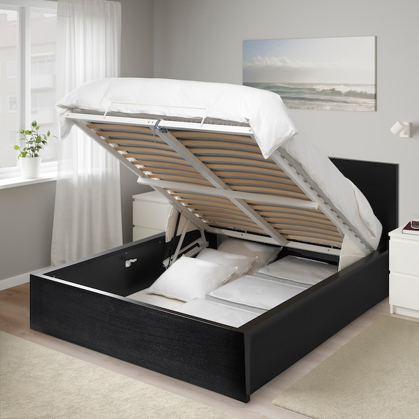 MALM Storage bed, black-brown, Queen