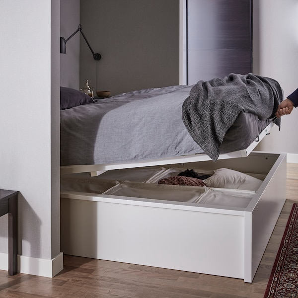 MALM Storage bed, white, Queen