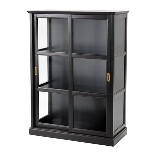 MALSJÖ Glass-door cabinet, black stained black stained black stained 40 1/2x55 1/2