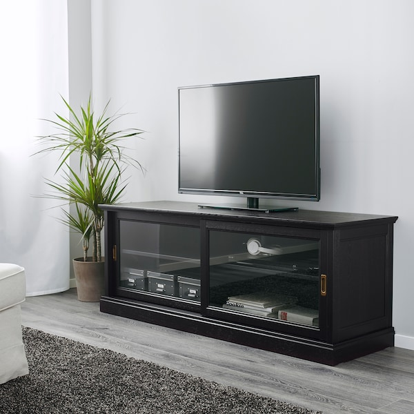 """MALSJÖ TV unit with sliding doors black stained 63 """" 18 7/8 """" 23 1/4 """" 66 lb"""