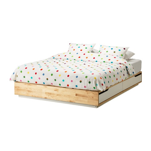 Schreibtisch Ikea Galant Birke ~ MANDAL Bed frame with storage IKEA The 4 large drawers give you an