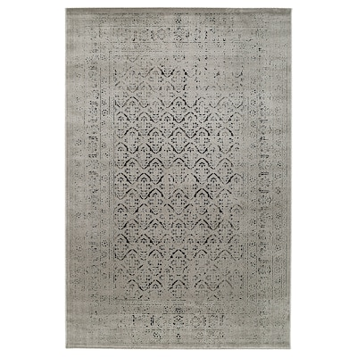 "MANSTRUP Rug, low pile, gray antique look/floral patterned, 6 ' 7 ""x9 ' 10 """