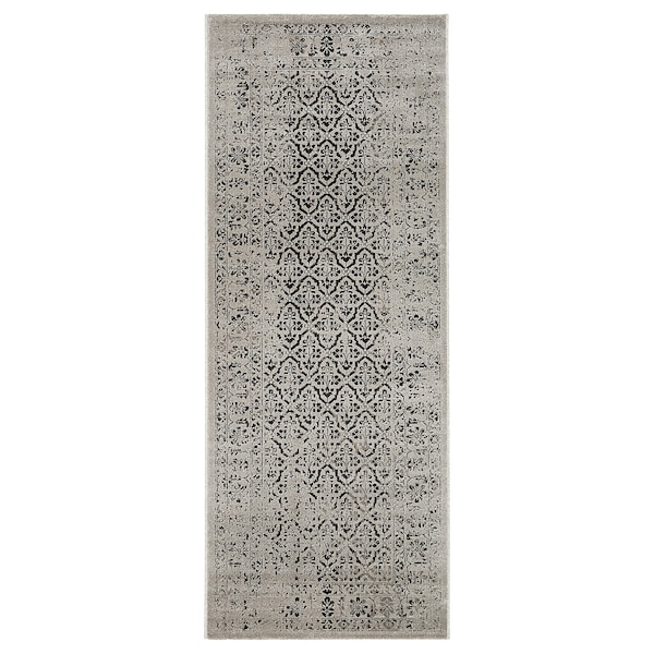 "MANSTRUP Rug, low pile, gray antique look/floral patterned, 2 ' 7 ""x6 ' 7 """