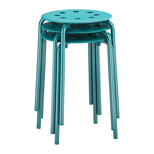 MARIUS Stool IKEA Stackable; saves space when not in use.
